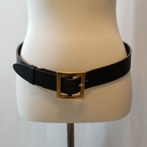 Dolce & Gabbana Black Leather Belt w Gold Buckle